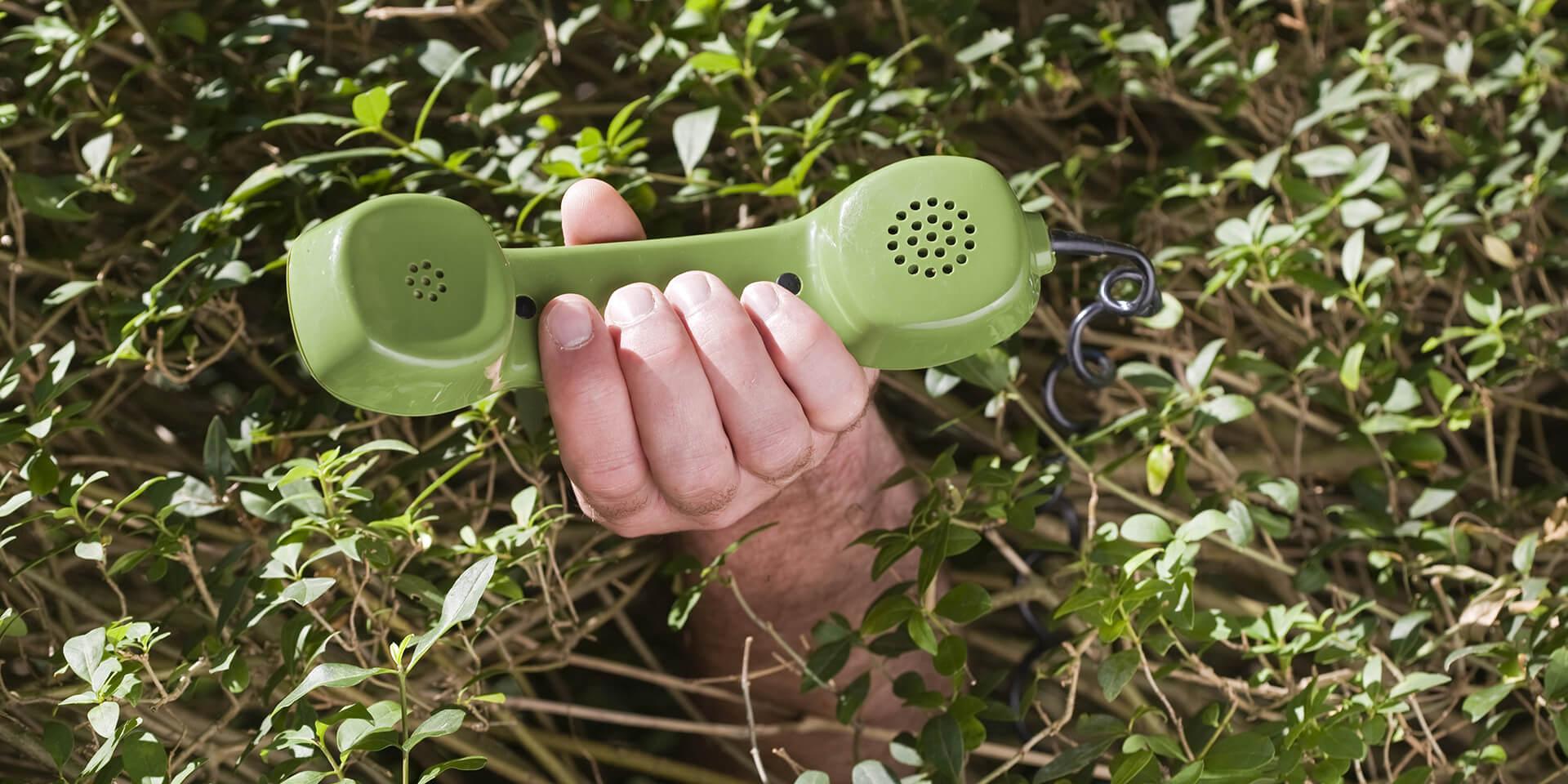 Hand mit Telefonhörer in einer Hecke